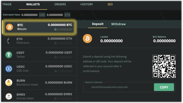 How to deposit cryptocurrencies to my Emirex account?