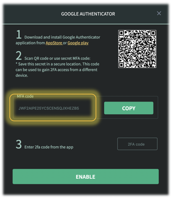 Enable Google Authenticator